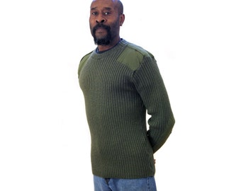 Vintage Military Sweater, Men's British Army Sweater, Drab Green Wool Ribbed Pullover Jumper M
