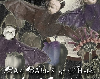 Bat Babies & Their Garden of Gloomflowers - Digital Collage Sheet - Digital Oddities - Cute but Spooky Images - Halloween