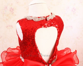 Red Pageant Dress glitz, Easter Dress, Toddler Event Dress, Baby Birthday Dress, PD116