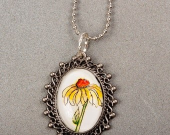 Floral pendant necklace, gift for her, summer fashion jewelry, original watercolor print in glass cabochon pendant, yellow cone flower