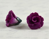 Flower beads 12mm - polymer clay bead pair - red-violet