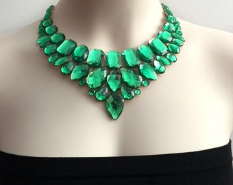 green bib necklace, green rhinestone statement necklaces, Christmas, bridesmaids, prom bib necklace new season