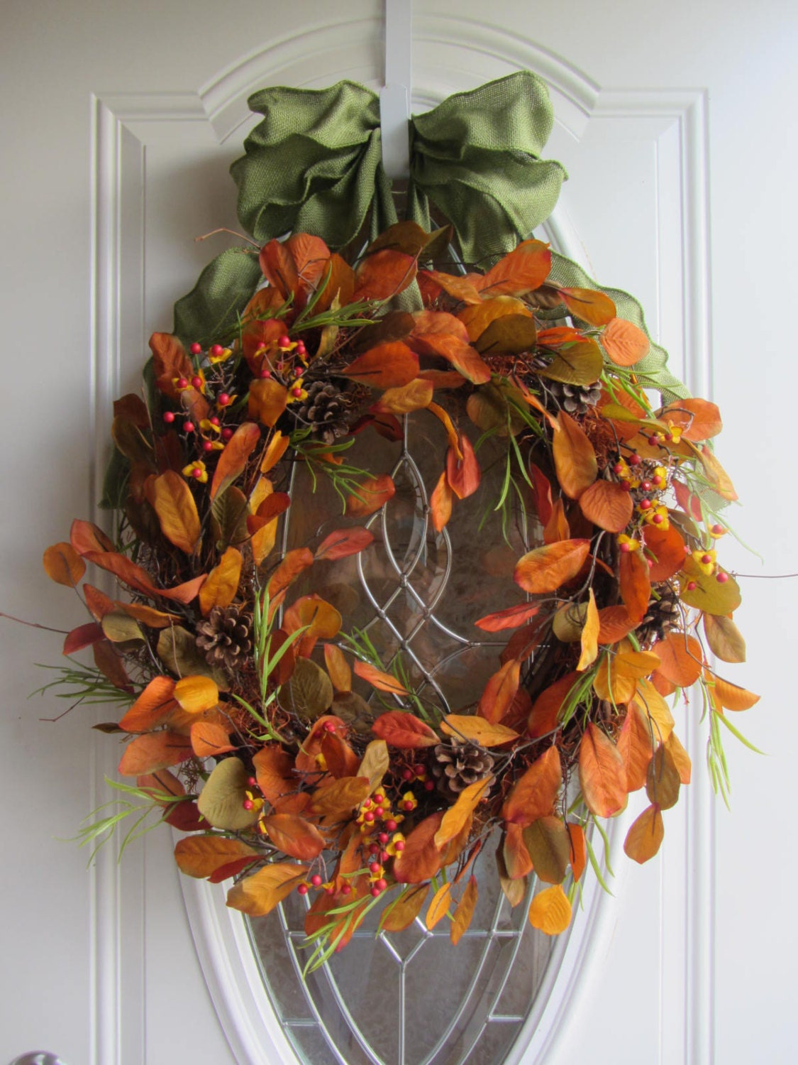 Fall Wreath Autumn Wreath Leaf Wreath Fall Door Wreath