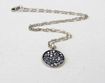 Silver circle pendant necklace, Oxidized silver necklace, Swarovski crystal necklace