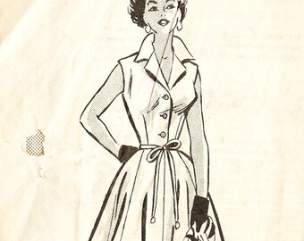 Marian Martin 9238 Vintage 1950s Mail Order Shirtwaist Dress Sewing Pattern