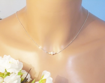 Tiny Freshwater Pearl Necklace, 3 AAA White Freshwater Pearl & Fine Cable Sterling Silver Chain, Pearl Necklace