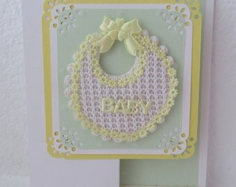 Baby Card with Fabric Yellow/White Bib