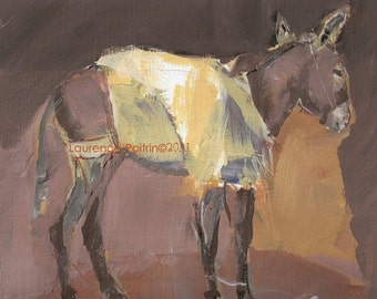 Original Morocco DONKEY painting - donkey sketch - Original painting - wall art