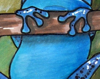 ACEO - Original Art Card - Blue Poison Dart Frog , hand-drawn