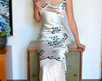 1980s Angelo Tarlazzi Gown Made in France Bias Column Dress Burn Out Silk Bow Detail Black White Graphic Floral Devore