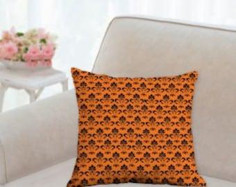 Antique Orange and Black Designer Pillow