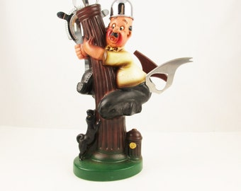 A Fun Retro '50s Barware Holder - Ceramic - Guy Climbing Tree - Cocktail Accessories - Made in Japan - Jigger, Tongs, Corkscrew, Strainer