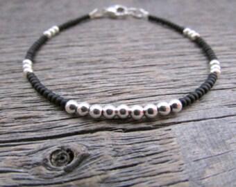 Silver Black Bracelet, Yin Yang Bracelet, Sterling Silver Bracelet, Seed Bead Bracelet, Stack Bracelet, Bracelet For Women, Friend Bracelet
