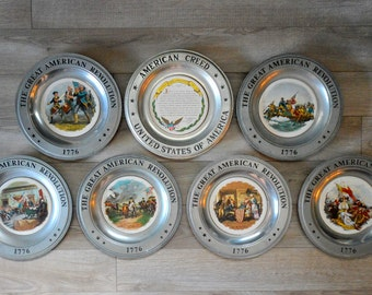 The Great American Revolution Bicentennial Pewter Collector's Plates Set of 7