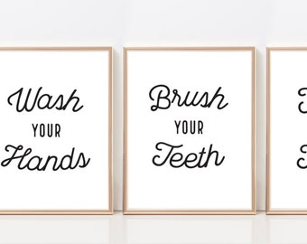 Bathroom Wall Art Set - Bathroom Wall Decor - Black and White Art - Set of 3 Prints 10% Discount - Instant Download Wall Art