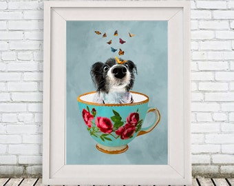 Doggy in a cup, Butterfly Print Illustration Art Poster Acrylic Painting Kids Decor Drawing Gift, teacup, Alice in Wonderland