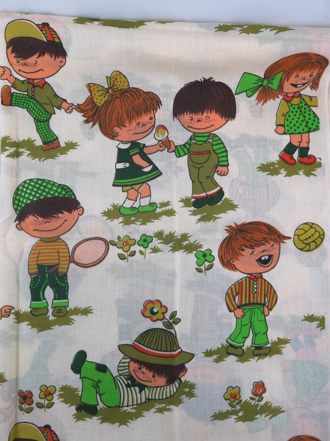 Just reduced vintage 1970s children novelty fabric ecru for Kids novelty fabric