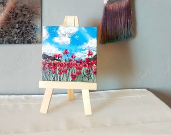 COMES WITH EASEL mini painting of red wildflowers in spring hand painted