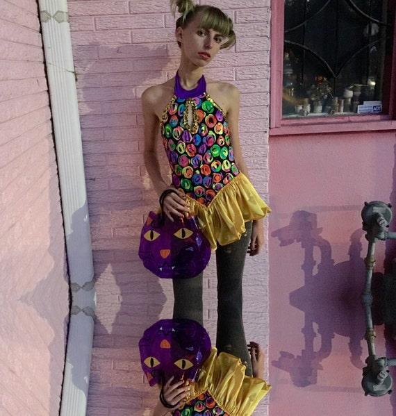 90s Halloween Costume Raver Girl Leotard Neon Dance Costume