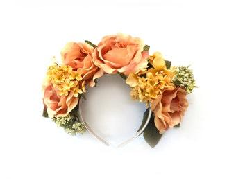 Statement Floral Rose Headpiece // Festival Headpiece// Peach and Gold// Lana del Rey Headband
