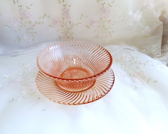 Vintage Depression Glass circa 1937, Pattern Diana-Pink by Federal Glass, Cereal Bowl and Bread and Butter Plate