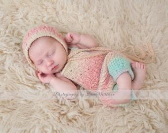 Lotus Shortalls Newborn Knitting Pattern - Newborn Overalls Knitting Pattern - Newborn Romper Knitting Pattern - Instant Download