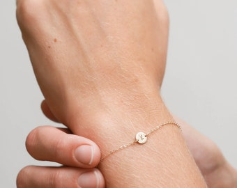Super Dainty Initial Bracelet, Delicate Personalized (or blank) Disk Bracelet • Tiny Disc in 14k Gold Fill, Sterling or Rose Gold • LB206