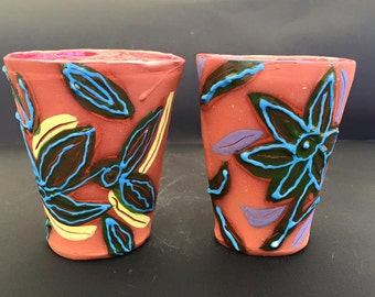 Twin Floral Slab Terra-Cotta Cups