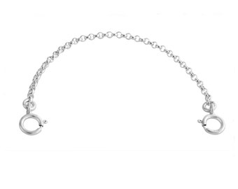 """1mm Dainty Bracelet / Necklace Safety Chain 1.5''-3.0"""" with Two Spring Ring Clasps #925 Sterling Silver #Azaggi S0421S"""