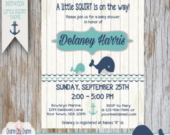 Little Squirt Baby Shower Invitation, Nautical Baby Shower Invitation, Whale Baby Boy Shower Invitation, Navy Blue and Aqua, Nautical Shower