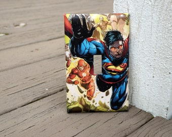Superman Flash Comic Book Light Switch Cover   Made from DC Comic Book Page   Man Cave, Comic Book Fan, Superhero Fan, Father's Day
