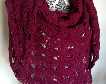 Crochet Mauve Triangle Shawl, wrap, shawlette, triangle scarf