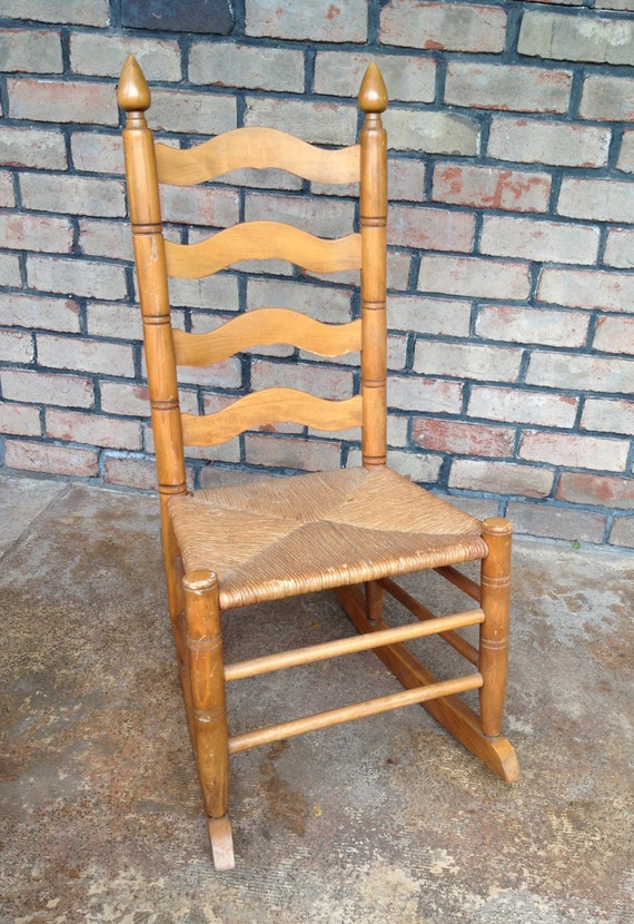 Vintage Ladder Back Rocking Chair With Rush Seat Front Porch