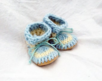 Icelandic - Custom Made Crochet Baby Slippers, Crochet Baby Booties Handmade Recycled Leather Sole, Crochet Baby Shoes, Knitted Wool Booties