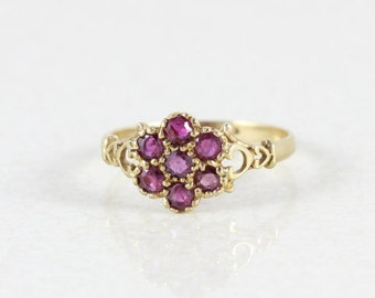 9k Yellow Gold Ruby Antique Ring Size 6 3/4
