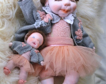 ALICIA & little doll - 20 inch Waldorf Inspired Doll, Soft Doll, OOAK Handmade Doll, Sculptured Collectible Doll