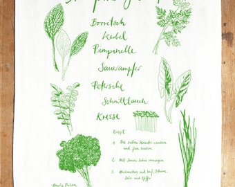 I <3 Grie Soß! Frankfurt Limited Edition words & illustration screen printed tea towel with illustrations by amelie persson