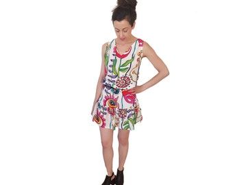 Floral Print Silk Sun Dress With Adjustable Straps