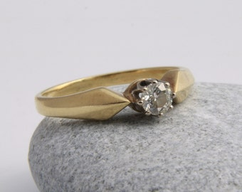 Antique diamond solitaire Engagement Ring | Diamond Ring | 14k yellow Gold Ring | Antique solitaire Ring/solitaire Ring | antique