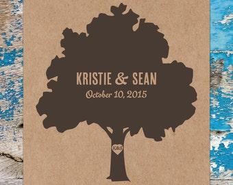 Printable Wedding Program - Rustic Heart Tree Design - Looks great on Kraft Paper