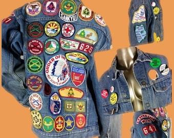 Vintage 70s Bar C Denim Jacket   Boy Scout Patches   NRA Patches   70s Anti War Protest Pinback Buttons