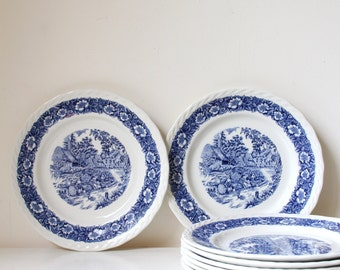 Blue and white vintage dinner plates/ English china dinnerware/ Staffordshire England Countryside/ Set of 8 plates