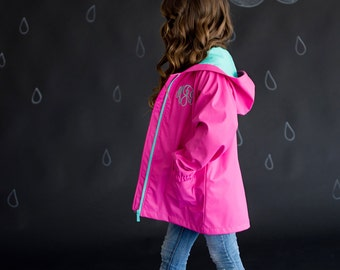 Monogrammed Hot Pink Youth GIrls Full-Zip Hooded Rain Jacket Coat
