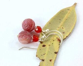 Red Agate Earrings, Sterling Silver Earrings, Silver Earrings, Banded Agate Silver Earrings, Carnelian Earrings, Silver Jewelry, Carnelian