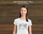Coloring Book Page T-Shirt - Girls Bunny Love