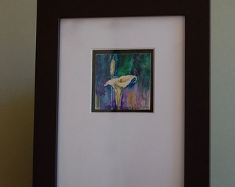 """Original Watercolor Painting on Clayboard """"Early Bloomer"""" by Camille Collins, in Greens and Blues"""