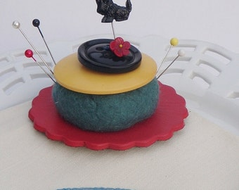 Pincushion Handmade with Vintage Buttons Wool Roving