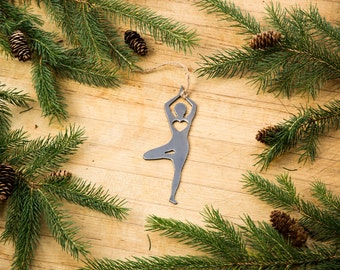 Love Tree Pose Christmas Ornament Yoga Rustic Metal Ornament Recycled Steel Holiday Gift Industrial Decor Wedding Favor