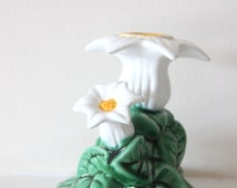 Vintage Portugal Caldas Flower Candle Holder, Ceramic, Majolica, Taper Candle Holder, Ceramic White Flowers, Gift for Her, WTH-824
