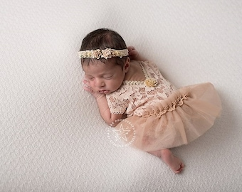 Newborn Lace Romper & Tutu Skirt; Light Beige Color; Newborn Girl Outfit; Newborn Romper Prop; Newborn Photo Prop; Photography Prop